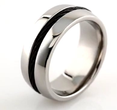 Item # 6610TI View 4 - Titanium Center Cable Wedding Band