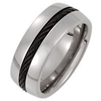 Item # 6610TI - Titanium Center Cable Wedding Band