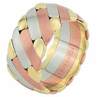 Item # 686581201E - 18 Kt Tri-Color Wedding Ring