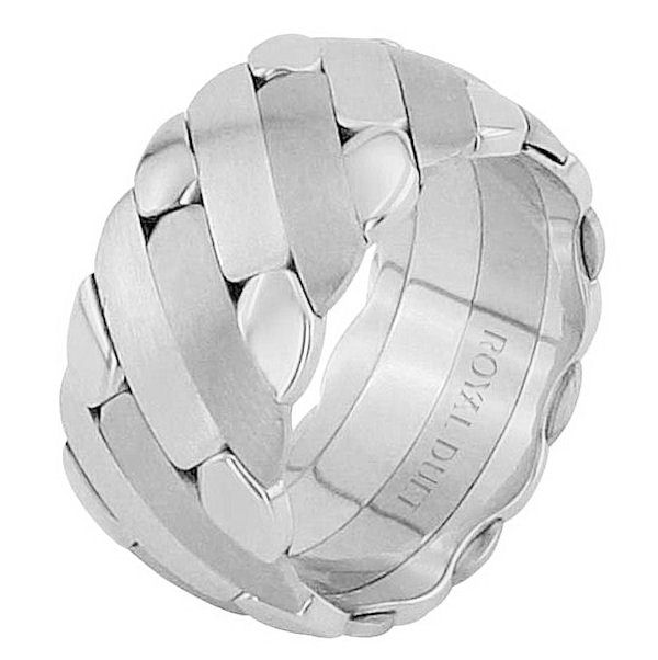 Item # 686581201WE - 18 kt white gold, comfort fit, 10.0 mm wide, wedding ring. The band has a unique design made with white gold. There is a mix of brushed and polished finishes. Other finishes may be selected or specified.