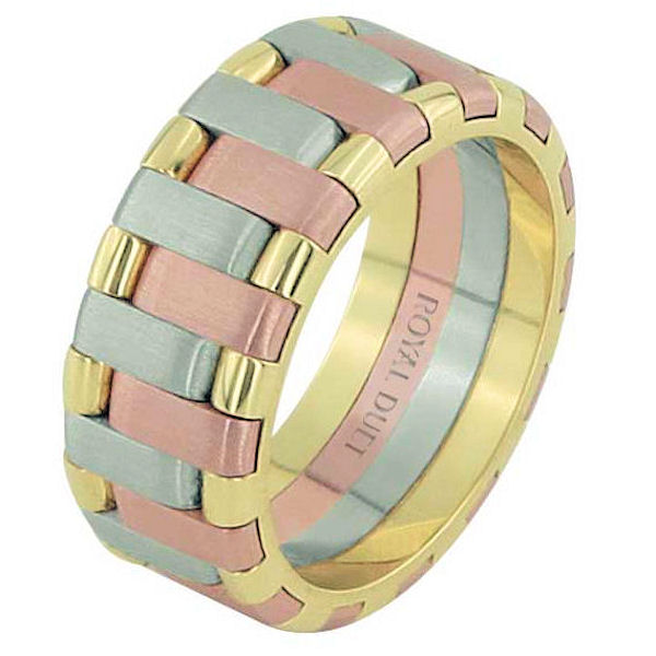 Item # 68659102E - 18 kt tri-color gold, 8.0 mm wide, comfort fit, wedding ring. The band has a beautiful combination of white, rose, and yellow gold. There is a mix of brushed and polished finishes. Other finishes may be selected or specified.