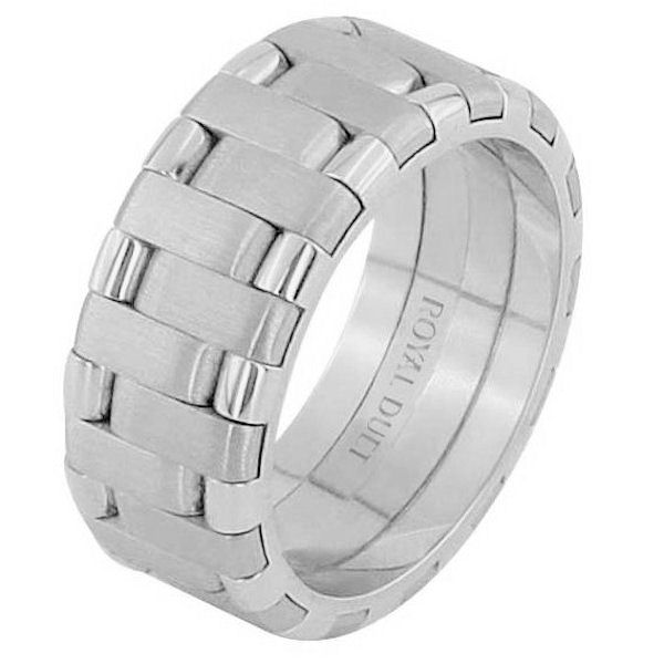Item # 68659102W - 14 kt white gold, 8.0 mm wide, comfort fit, wedding ring. The band has a beautiful design made with white gold. There is a mix of brushed and polished finishes. Other finishes may be selected or specified.