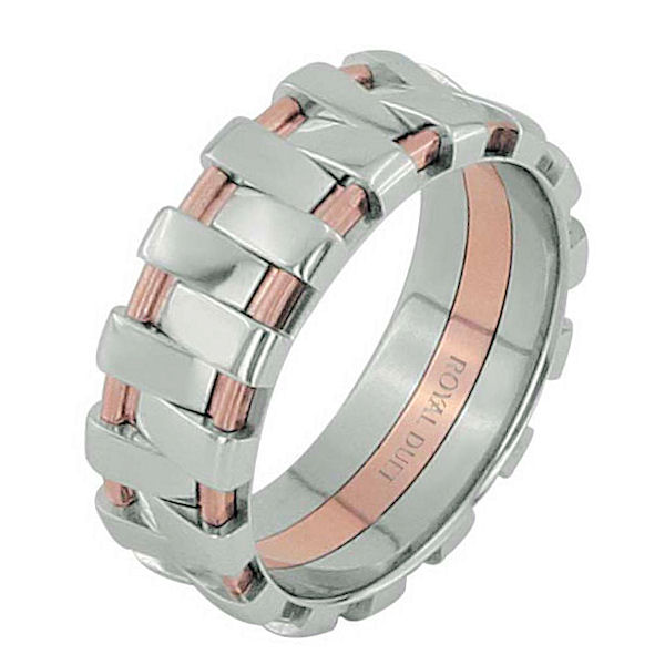 Item # 68678020R - 14 kt rose and white gold, 7.0 mm wide, comfort fit, wedding ring. The band combines white and rose gold together in a unique desgin. There is a mix of brushed and polished finishes. Other finishes may be selected or specified.
