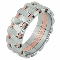 Item # 68678020R - 14 K Rose & White Gold Wedding Ring