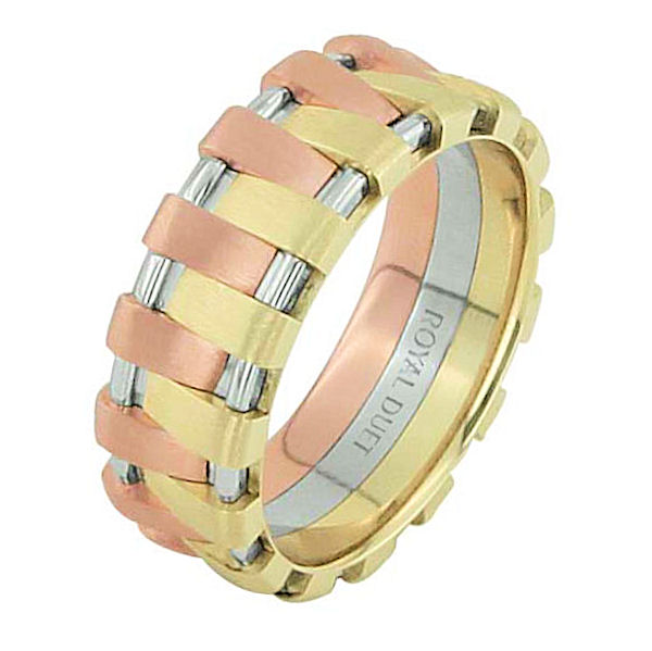 Item # 68678201E - 18 kt tri-color gold, comfort fit, 7.0 mm wide, wedding ring. The band has a beautiful combination of rose, yellow, and white gold. There is a mix of brushed and polished finishes. Other finishes may be selected or specified.