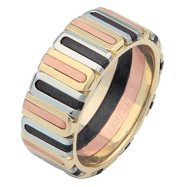 Item # 687101230E - 18 kt tri-color gold, black rhodium, comfort fit, 8.1 mm wide, wedding ring. The band has a unique blend and fusion of tri-color gold with black rhodium. It has a mix of brushed and polished finishes. Different finishes may be selected or specified.