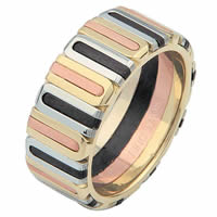 14 Kt Tri-Color and Black Rhodium Wedding Ring
