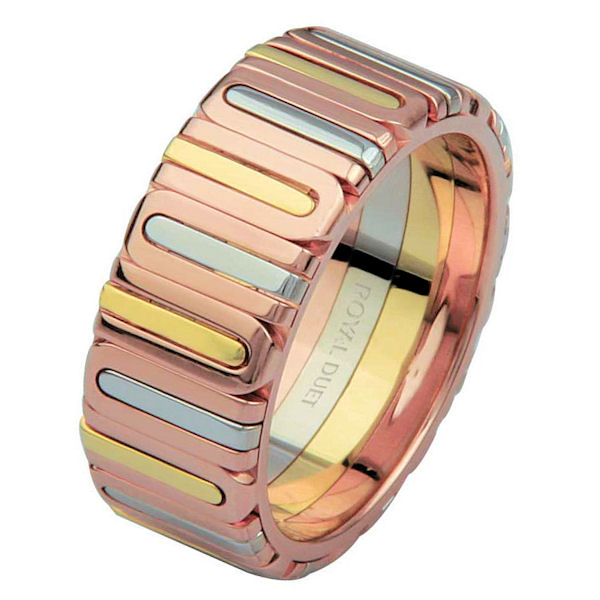 Item # 68710210 - 14 kt tri-color gold, comfort fit, 8.1 mm wide, wedding ring. The band fuses and blends the different colors of gold. It is all polished finish. Different finishes may be selected or specified.