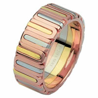 Item # 68710210E - 18 Kt Tri-Color Wedding Ring