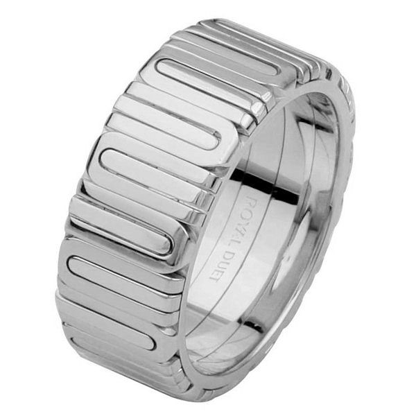 Item # 68710210WE - 18 kt white gold, comfort fit, 8.1 mm wide, wedding ring. The band fuses and blends the white gold in a unique way. It is all polished. Different finishes may be selected or specified.