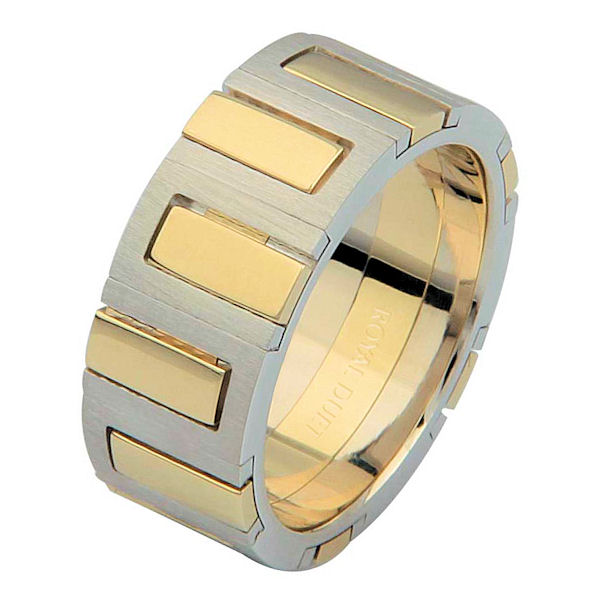 Item # 68711010 - 14 kt two-tone gold, comfort fit, 8.1 mm wide, wedding ring. The band has unique blend of yellow and white gold. It has a mixture of brushed and polished finishes. Different finishes may be selected or specified.