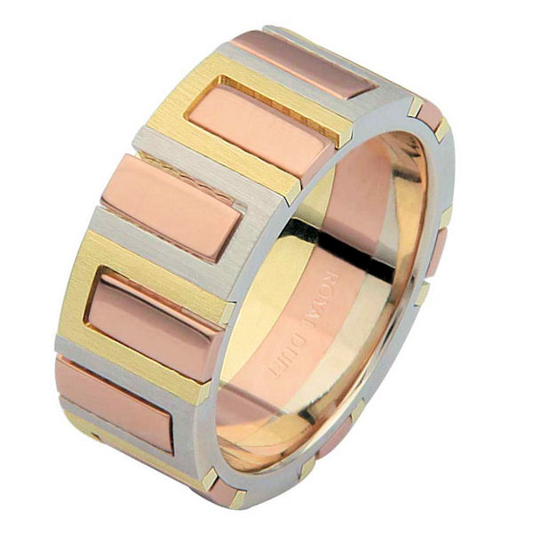Item # 68711120E - 18 kt tri-color, comfort fit, 8.1 mm wide, wedding ring. The band has a unique blend of yellow, white, and rose gold. It has a mix of brushed and polished finishes. Different finishes may be selected or specified.