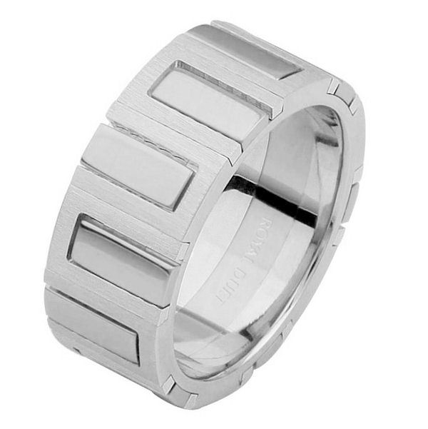 Item # 68711120W - 14 kt white gold, comfort fit, 8.1 mm wide, wedding ring. The band combines white gold in a unique way and has a mix of brushed and polished finishes. Different finishes may be selected or specified.