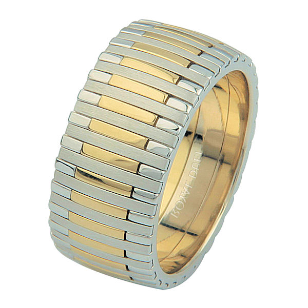 Item # 68712010 - 14 kt two-tone gold, comfort fit, 9.3 mm wide, wedding ring. The band has a unique blend of yellow and white gold. The yellow gold is brushed finish and the white gold is polished. Different finishes may be selected or specified.