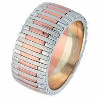 Item # 68712020R - Rose and White Gold Wedding Ring  Piano
