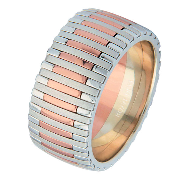Item # 68712020R - 14 kt rose and white gold, comfort fit 9.3 wide, wedding ring. The band has a unique blend of white and rose gold with a mixture of brushed and polished finishes. Different finishes may be selected or specified.