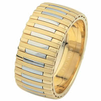 Item # 68712101E - 18 Kt Two-Tone Wedding Ring, Music Piano