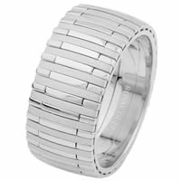 14 Kt White Gold Wedding Ring, Music Piano