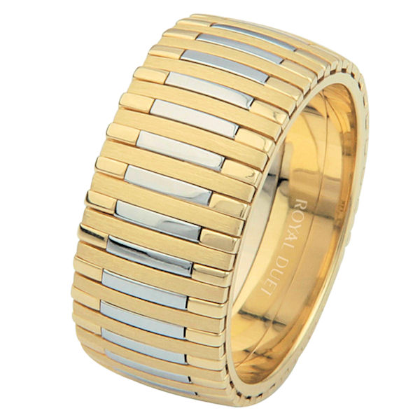 Item # 68712101E - 18 kt two-tone gold, comfort fit, 9.3 mm wide, wedding ring. The band has a unique blend of yellow and white gold. The yellow gold is brushed finish and the white gold is polished. Different finishes may be selected or specified.