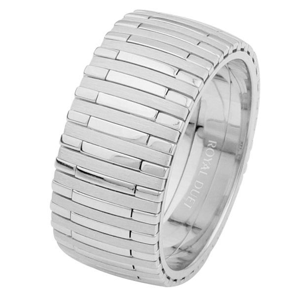 Item # 68712101WE - 18 kt white gold, comfort fit, 9.3 mm wide, wedding ring. The band combines white gold in a unique way with different finishes, brushed and polished, mixed into the ring. Different finishes may be selected or specified