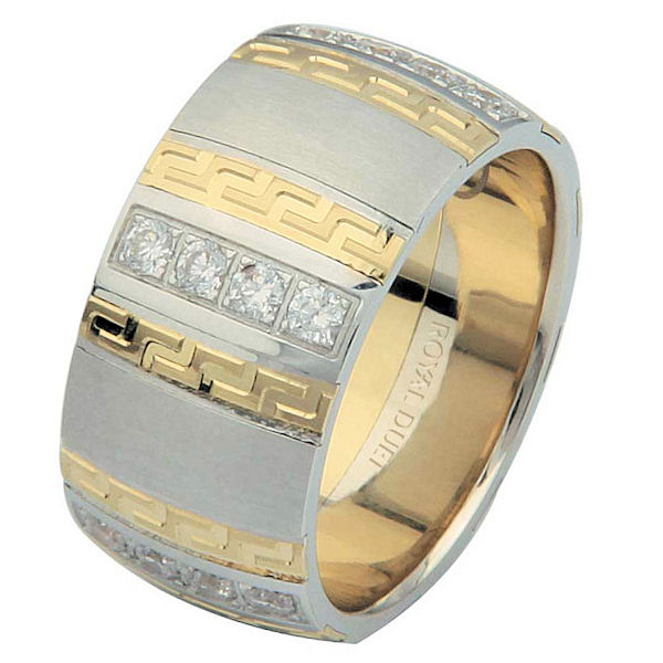 Item # 6871310DE - 18 kt two-tone, comfort fit, 10.15 mm wide, diamond wedding ring. The band has a unique blend of white and yellow gold with diamonds set into the ring. It has approximately 0.70 ct tw brilliant round cut diamonds, that is VS1-2 in clarity and G-H in color. There is a mixture of matte and polished finishes. Different finishes may be selected or specified.
