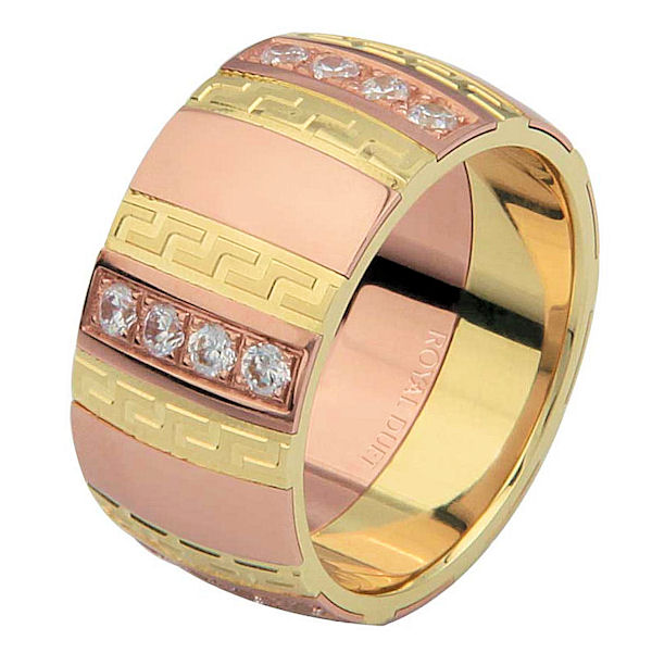Item # 6871312DE - 18 kt yellow and rose gold, comfort fit, 10.15 mm wide, diamond wedding ring. The band has a unique blend of yellow and rose gold with diamonds set into the ring. It holds approximately 0.70 ct tw brilliant round cut diamonds, that are VS1-2 in clarity and G-H in color. The diamonds do go around the whole band. The ring has a mixture of matte and polished finishes. Different finishes may be selected or specified.