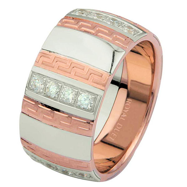 Item # 6871320DR - 14 kt rose and white gold, comfort fit, 10.15 mm wide, diamond wedding ring. The band has a unique blend of white and rose gold with diamonds set into the ring. It has approximately 0.70 ct tw brilliant round cut diamonds, that are VS1-2 in clarity and G-H in color. The diamonds go around the whole ring. It has a mixture of matte and polished finishes. Different finishes may be selected or specified.