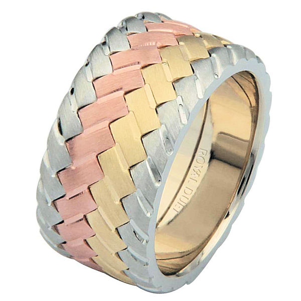 Item # 687140120 - 14 kt tri-color, comfort fit, 10.2 mm wide, wedding ring. The band has a unique blend of white, yellow and rose gold fused together. It has a brushed finish. Different finishes may be selected or specified.