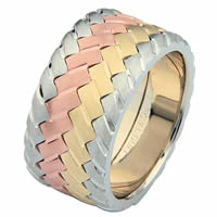 Item # 687140120E - 18 Kt Tri-Color Wedding Ring