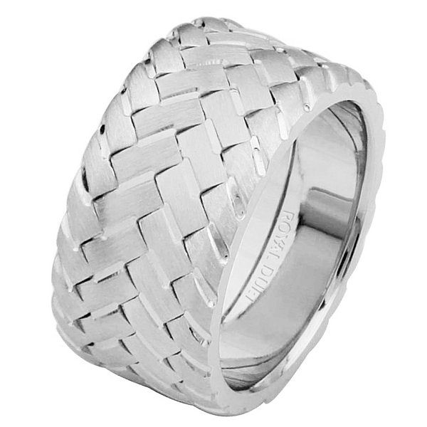 Item # 687140120WE - 18 kt white gold, comfort fit, 10.2 mm wide, wedding ring. The band combines the white gold pieces to form a unique braid fused together. It has a brushed finish. Different finishes may be selected or specified.