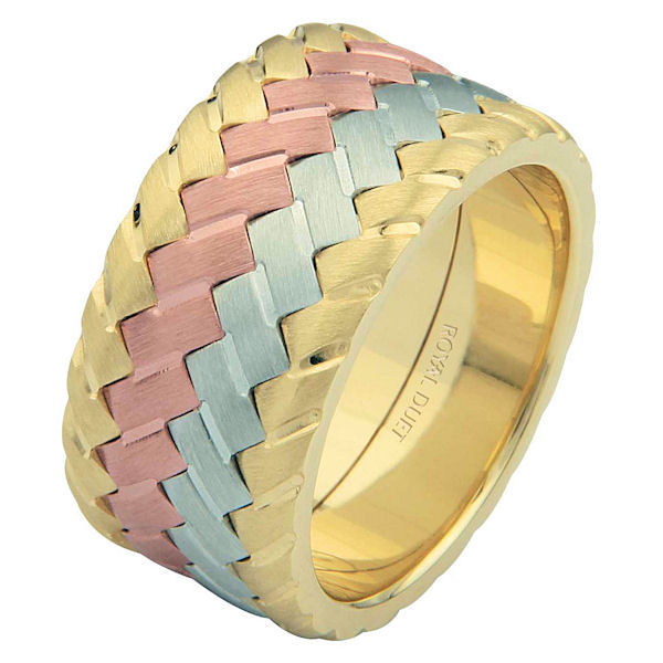 Item # 687141021E - 18 kt tri-color, comfort fit, 10.2 mm wide, wedding ring. The band has a unique blend of white, yellow and rose gold fused together. It has a brushed finish. Different finishes may be selected or specified.