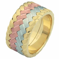 Item # 687141021E - 18 Kt Tri-Color Wedding Ring