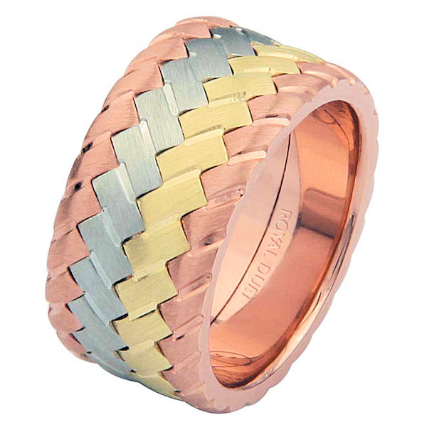 Item # 687142102 - 14 kt tri-color, comfort fit, 10.2 mm wide, wedding ring. The band has a unique blend of white, yellow and rose gold fused together. It has a brushed finish. Different finishes may be selected or specified.