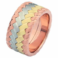 Item # 687142102E - 18 Kt Tri-Color Wedding Ring