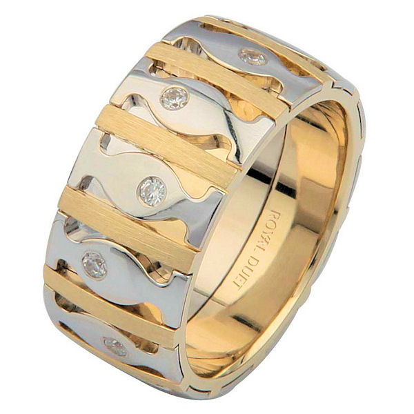 14 K Two-Tone Diamond Wedding Ring