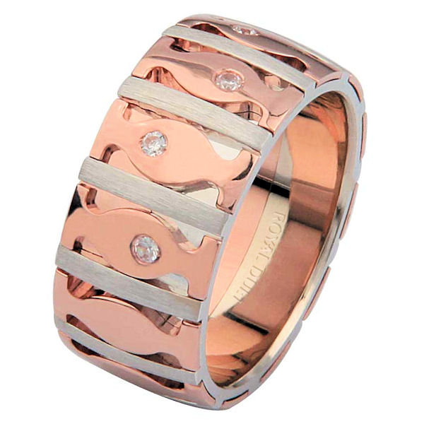 Item # 6871520DRE - 18 kt white and rose gold, comfort fit 9.15 mm wide wedding ring. The band has a unique combination of white and rose gold with diamonds set into the ring. It has approximately 0.10 ct tw round brilliant cut diamonds, that are VS1-2 in clarity and G-H in color. The white gold is brushed finished and the rose gold is polished. Different finishes may be selected or specified.
