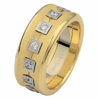 Two-Tone Eternity Diamond Wedding Ring
