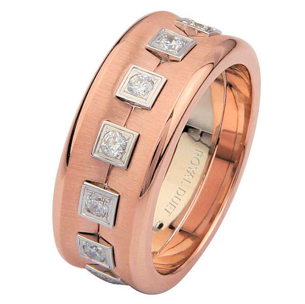 Item # 6871620DRE - 18 kt rose and white gold, comfort fit, 8.20 mm wide, diamond eternity wedding ring. The band combines white and rose gold with diamonds set in the center. The ring is concaved. It has approximately 0.52 ct tw round brilliant cut diamonds, that are VS1-2 in clarity and G-H in color. The rose gold is strongly brushed finish and polished edges. Different finishes may be selected or specified.