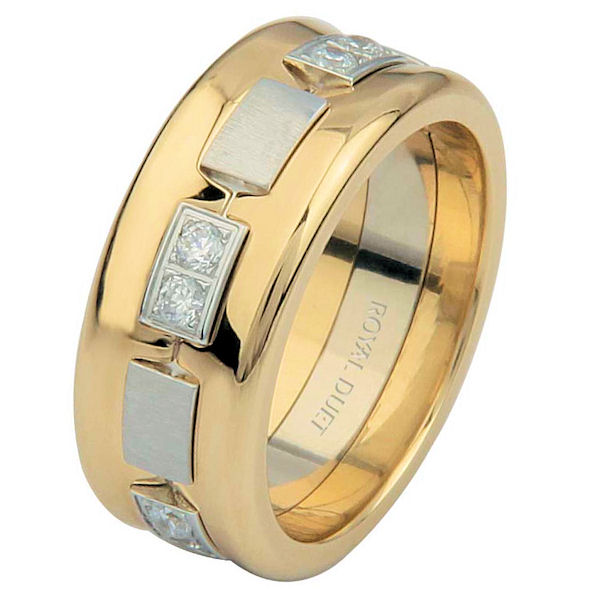 14 K Two-Tone Diamond Concaved Ring