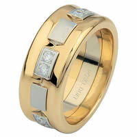 Item # 6871710D - 14 K Two-Tone Diamond Concaved Ring