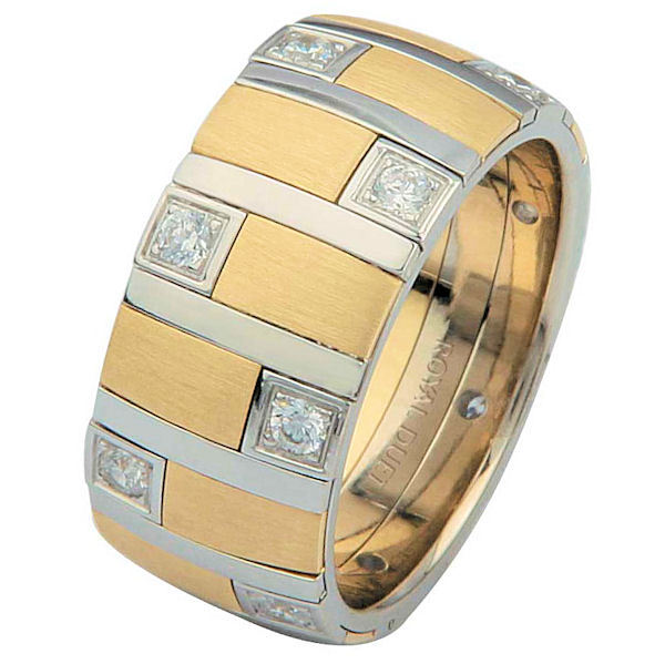 Item # 68718010DE - 18 kt two-tone gold, comfort fit, 9.40 mm wide, diamond ring. The ring uniquely combines the white and yellow gold together with diamonds set around the whole ring. It has approximately 0.49 ct tw round brilliant cut diamonds, that are VS1-2 in clarity and G-H in color. The yellow gold has a brush finish and the white gold is polished. Different finishes may be selected or specified.