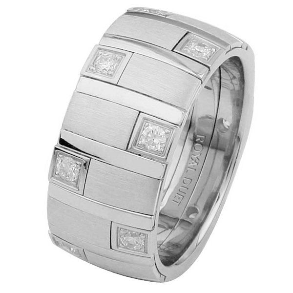 Item # 68718201DWE - 18 kt white gold, comfort fit, 9.40 mm wide, diamond ring. The band combines white gold pieces and has different finishes to give the look in the picture. There are diamonds set around the whole ring. It has approximately 0.49 ct tw round brilliant cut diamonds, that are VS1-2 in clarity and G-H in color. Different finishes may be selected or specified.