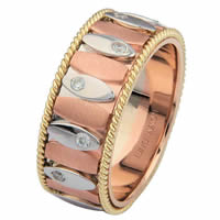 Item # 68720201DE - Tri-Color Gold Diamond Ring. Inseparable
