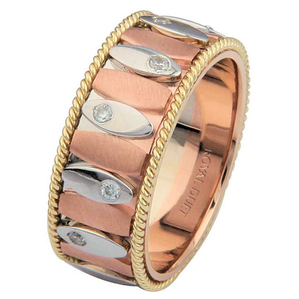 Item # 68720201DE - 18 kt tri-color gold, comfort fit, 8.15 mm wide, diamond wedding ring. The band combines rose, white, and yellow gold to create a beautiful design which brings together the crafts of both machine and hand made designs. It has approximately 0.24 ct tw round brilliant cut diamonds set around the whole band, that are VS1-2 in clarity and G-H in color. The rose gold is brushed finish and the rest of the ring is polished. Different finishes may be selected or specified.
