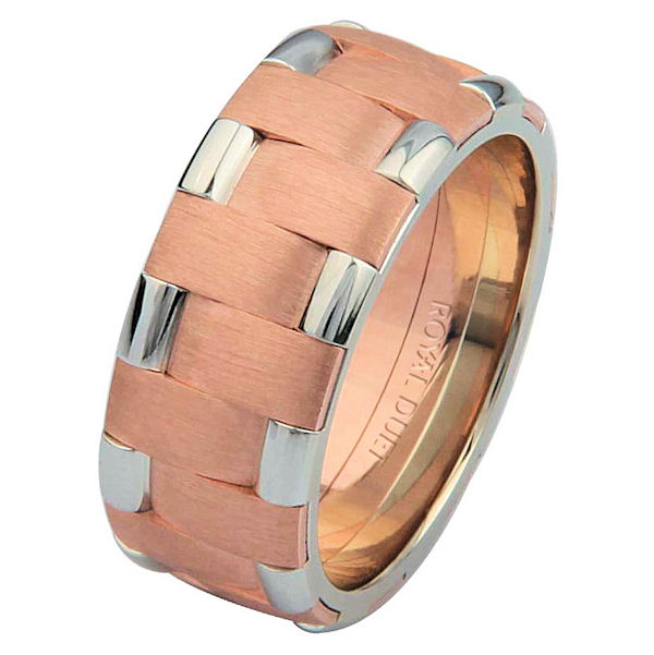 Item # 6872202RE - 18 kt rose and white gold, comfort fit, 8.25 mm wide, wedding ring. This band uniquely combines the white and rose gold together to create a beautiful design. The rose gold has a brush finish and the white gold has a polished finish. Different finishes may be selected or specified.