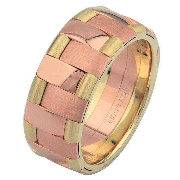 Item # 6872212 - 14 kt yellow and rose gold, comfort fit, 8.25 mm wide, wedding ring. This band uniquely combines yellow and rose gold to create a unique design. The ring has a mixture of brushed and polished finishes. Different finishes may be selected or specified.