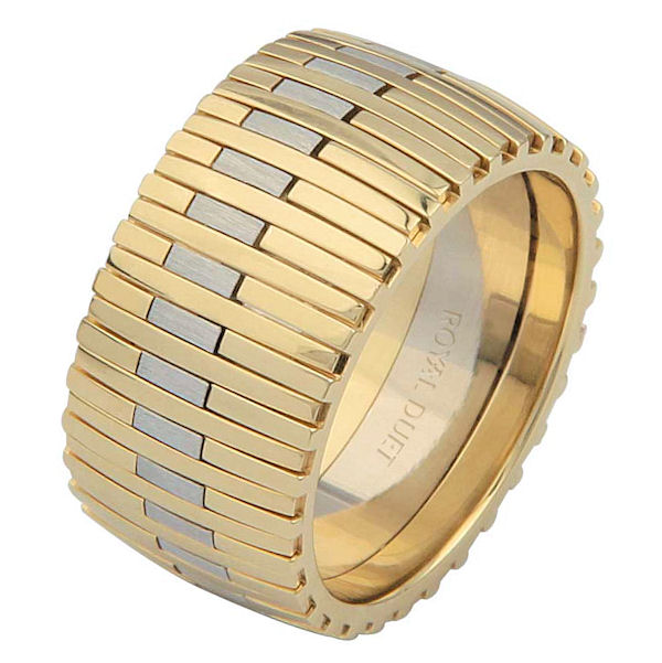 Item # 6872310E - 18 kt two-tone gold, comfort fit, 10.4 mm wide, wedding ring. This band combines white and yellow gold together to create a different design. The white gold has a brushed finish and the yellow gold has a polished finish. Different finishes may be selected or specified.