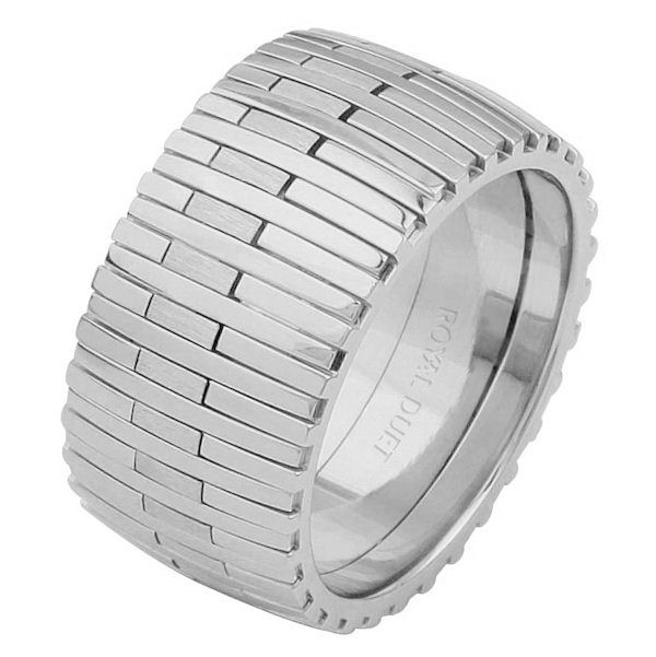 Item # 6872310WE - 18 kt white gold, comfort fit, 10.4 mm wide, wedding ring. This band combines the white gold in a unique and different design. Parts of the ring are polished and others brushed. Different finishes may be selected or specified.