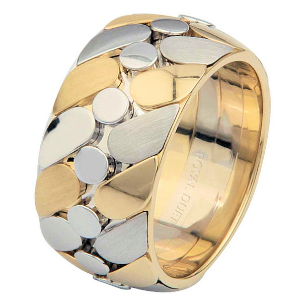Item # 68725010E - 18 kt two-tone gold, comfort fit, 10.0 mm wide, wedding ring. The band combines white and yellow gold together to create a beautiful design. The ring has a mix of brush and polished finish. Different finishes may be selected or specified.