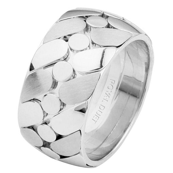 Item # 68725120WE - 18 kt white gold, comfort fit, 10.0 mm wide, wedding ring. The band uses white gold in a unique way to create a beautiful design. It has a mix of brushed and polished finishes. Different finishes may be selected or specified.